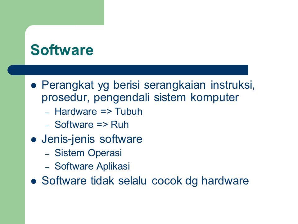 Software Perangkat yg berisi serangkaian instruksi, prosedur, pengendali sistem komputer. Hardware => Tubuh.