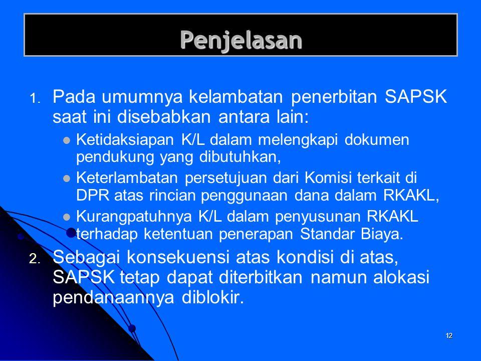 Penjelasan Pada umumnya kelambatan penerbitan SAPSK saat ini disebabkan antara lain: