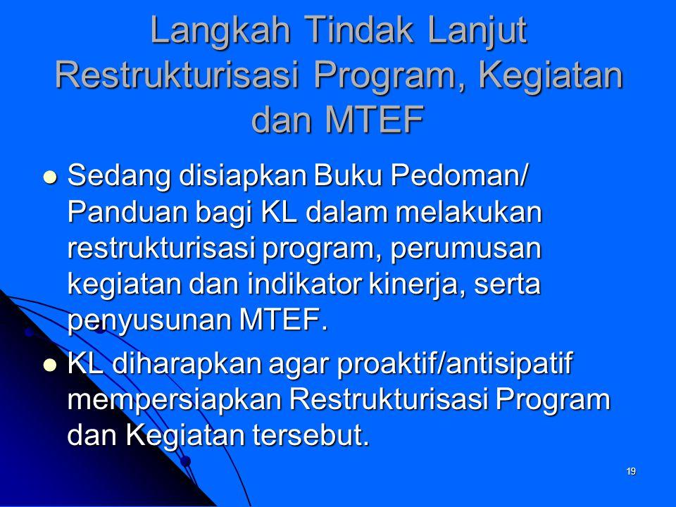 Langkah Tindak Lanjut Restrukturisasi Program, Kegiatan dan MTEF
