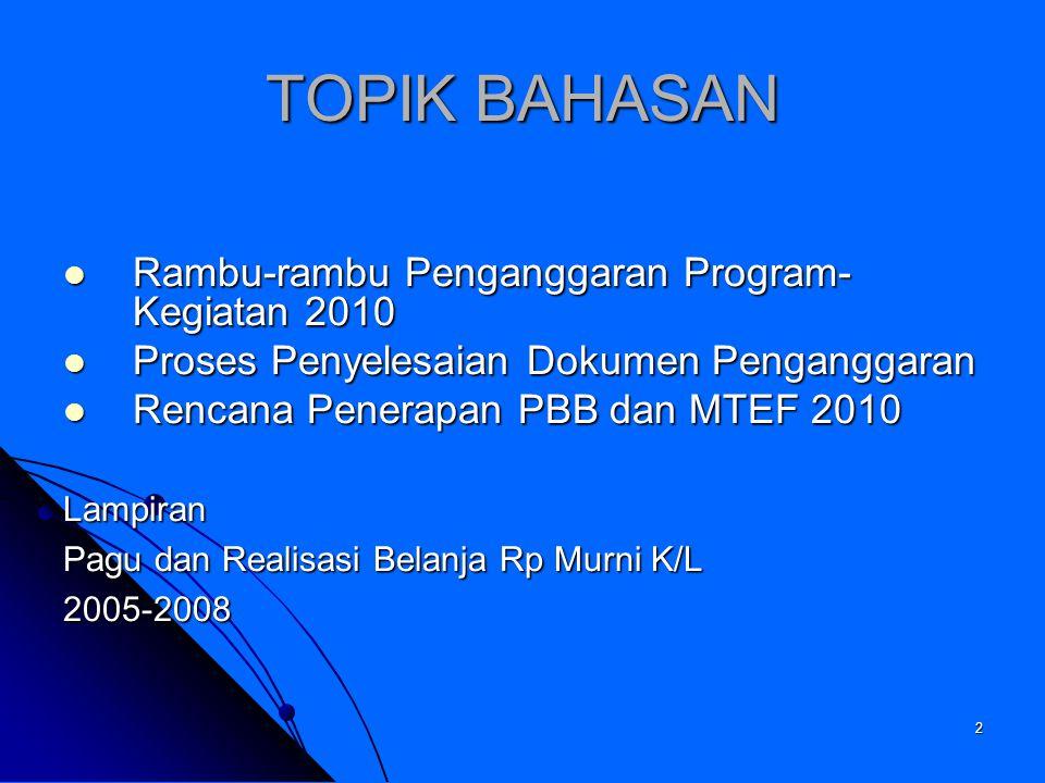 TOPIK BAHASAN Rambu-rambu Penganggaran Program-Kegiatan 2010