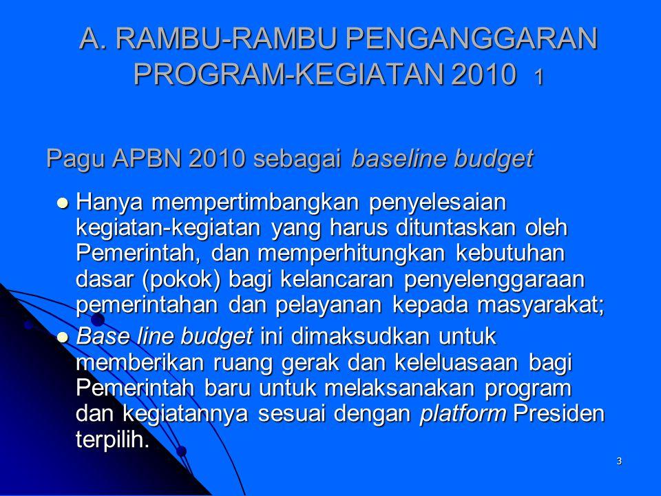 A. RAMBU-RAMBU PENGANGGARAN PROGRAM-KEGIATAN 2010 1