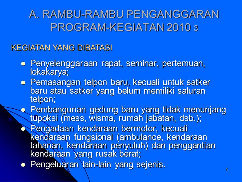 A. RAMBU-RAMBU PENGANGGARAN PROGRAM-KEGIATAN 2010 3