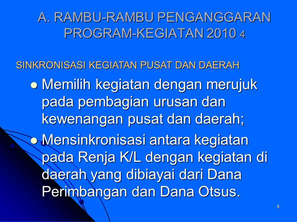 A. RAMBU-RAMBU PENGANGGARAN PROGRAM-KEGIATAN 2010 4