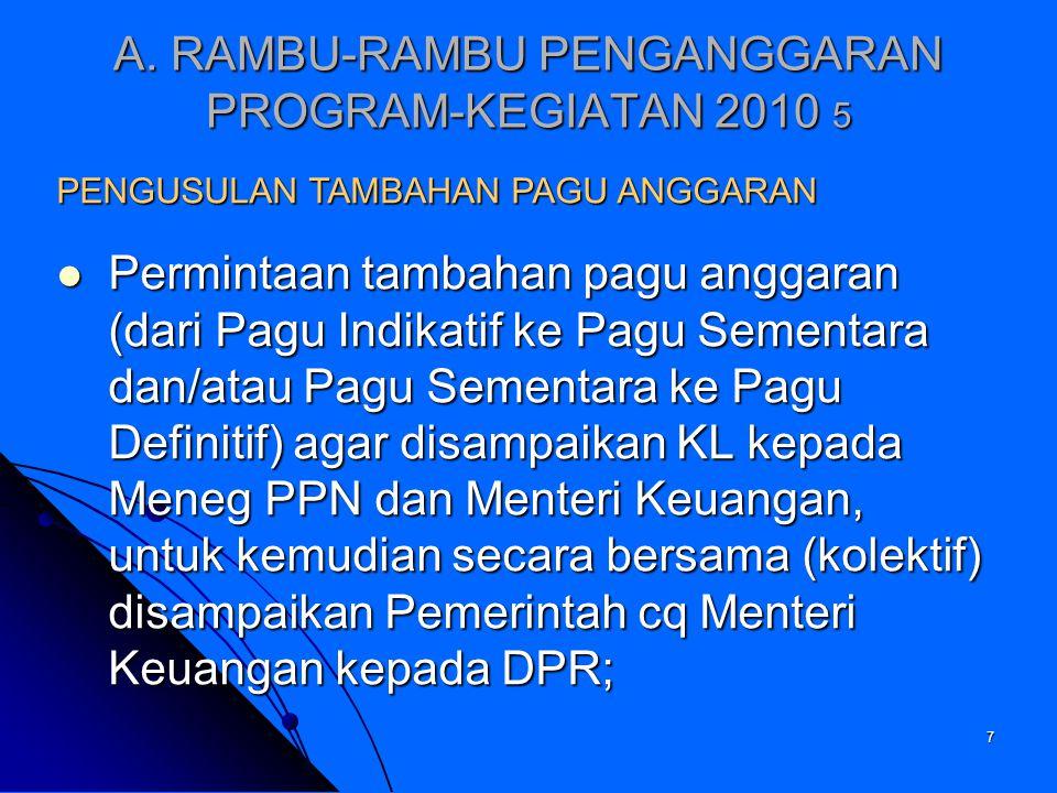 A. RAMBU-RAMBU PENGANGGARAN PROGRAM-KEGIATAN 2010 5