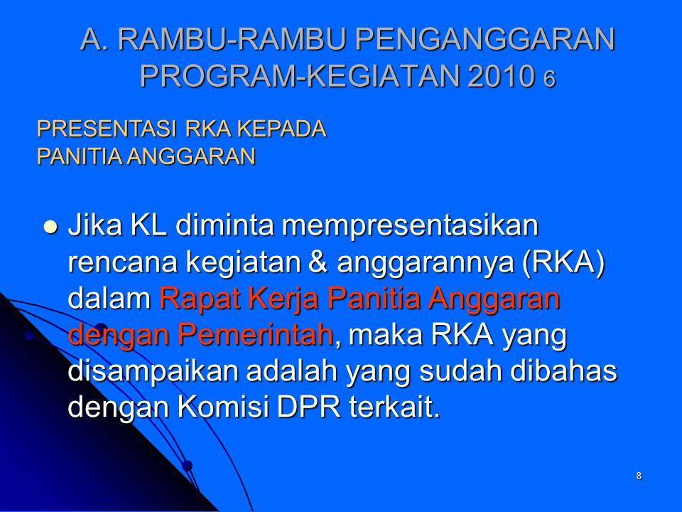 A. RAMBU-RAMBU PENGANGGARAN PROGRAM-KEGIATAN 2010 6