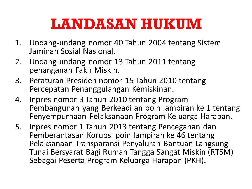 LANDASAN HUKUM Undang-undang nomor 40 Tahun 2004 tentang Sistem Jaminan Sosial Nasional.