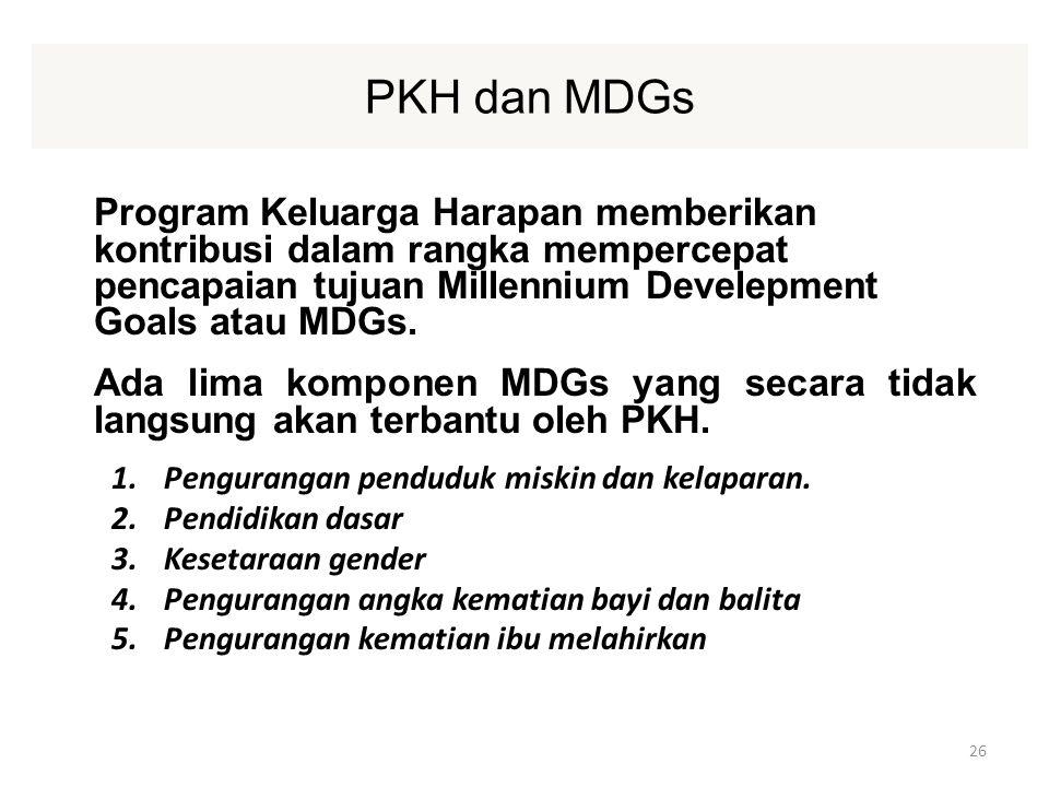 PKH dan MDGs Program Keluarga Harapan memberikan kontribusi dalam rangka mempercepat pencapaian tujuan Millennium Develepment Goals atau MDGs.