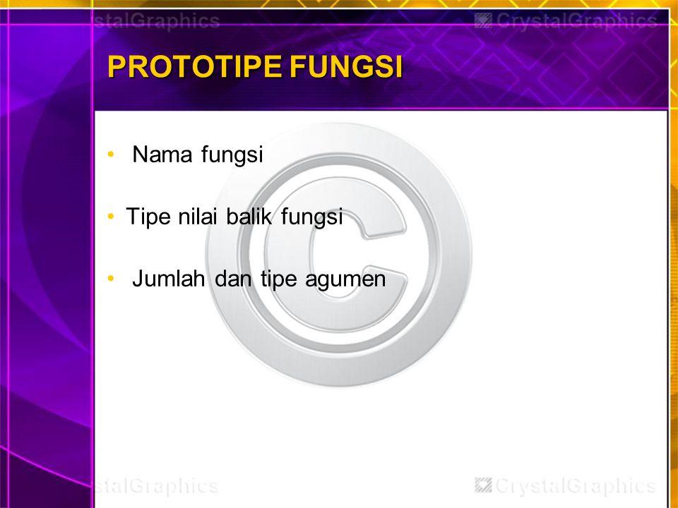 PROTOTIPE FUNGSI Nama fungsi Tipe nilai balik fungsi