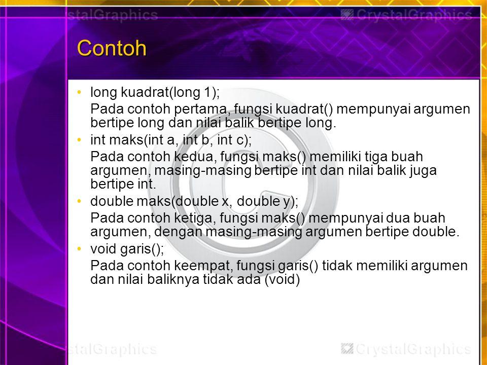 Contoh long kuadrat(long 1);