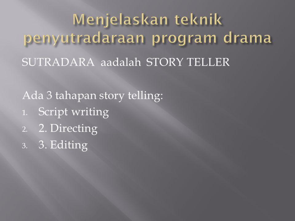 Menjelaskan teknik penyutradaraan program drama