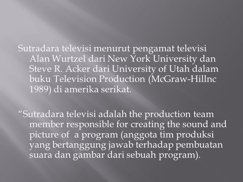 Sutradara televisi menurut pengamat televisi Alan Wurtzel dari New York University dan Steve R.