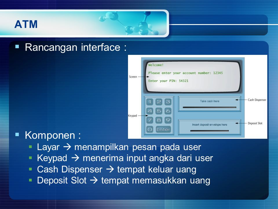 ATM Rancangan interface : Komponen :