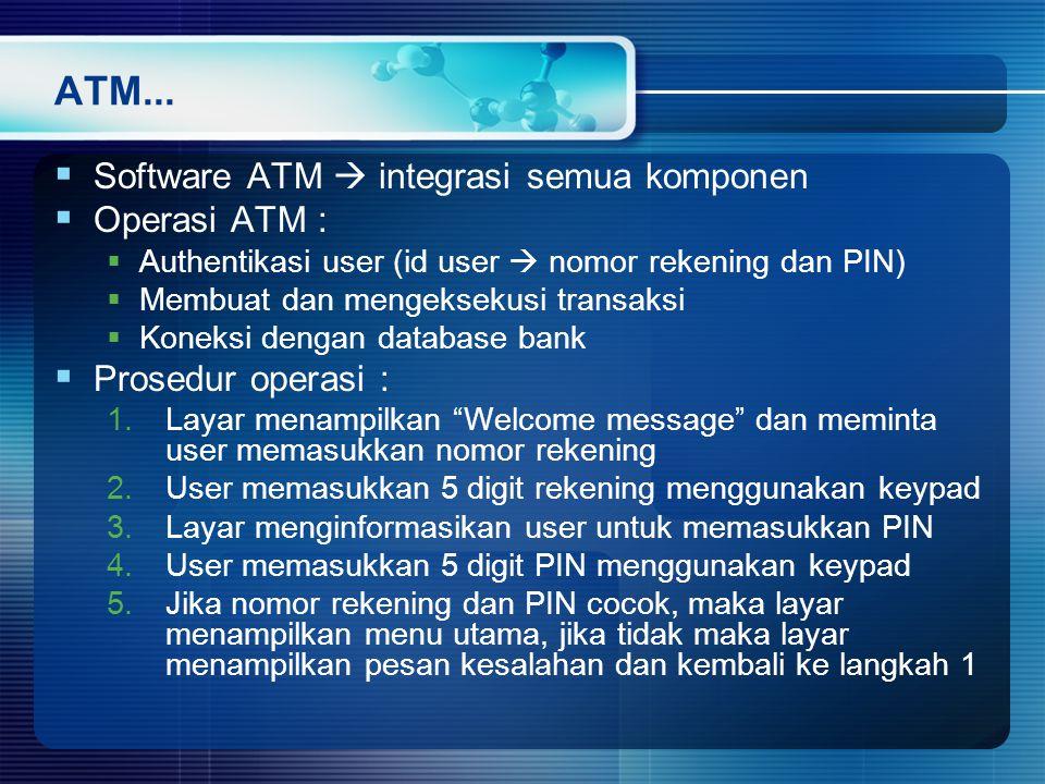 ATM... Software ATM  integrasi semua komponen Operasi ATM :