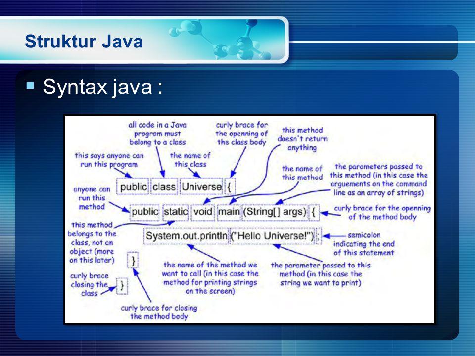 Struktur Java Syntax java :
