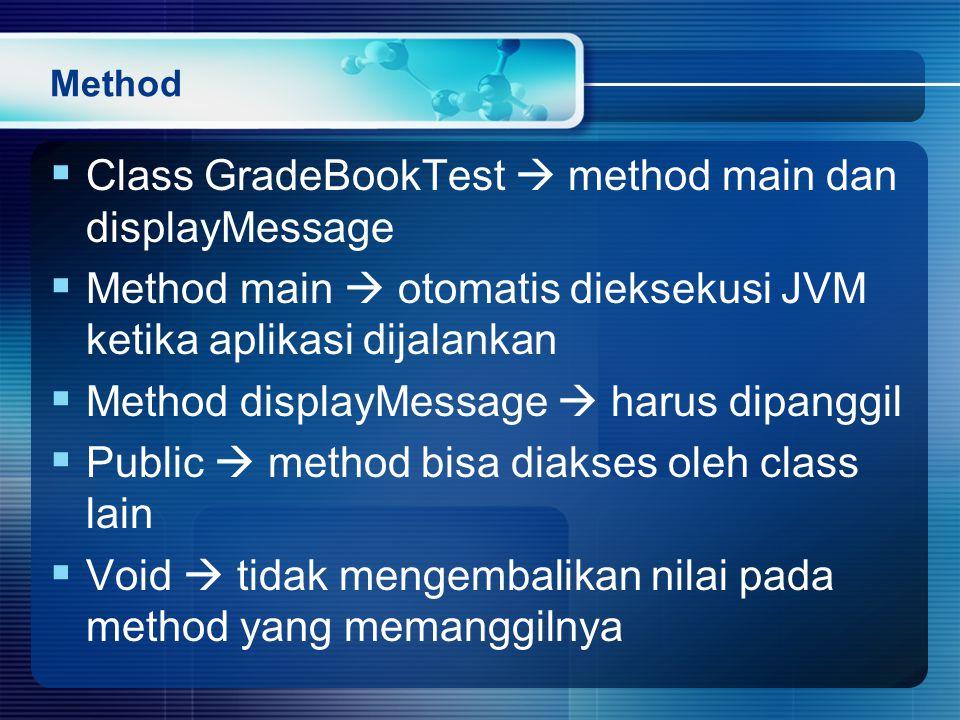 Class GradeBookTest  method main dan displayMessage