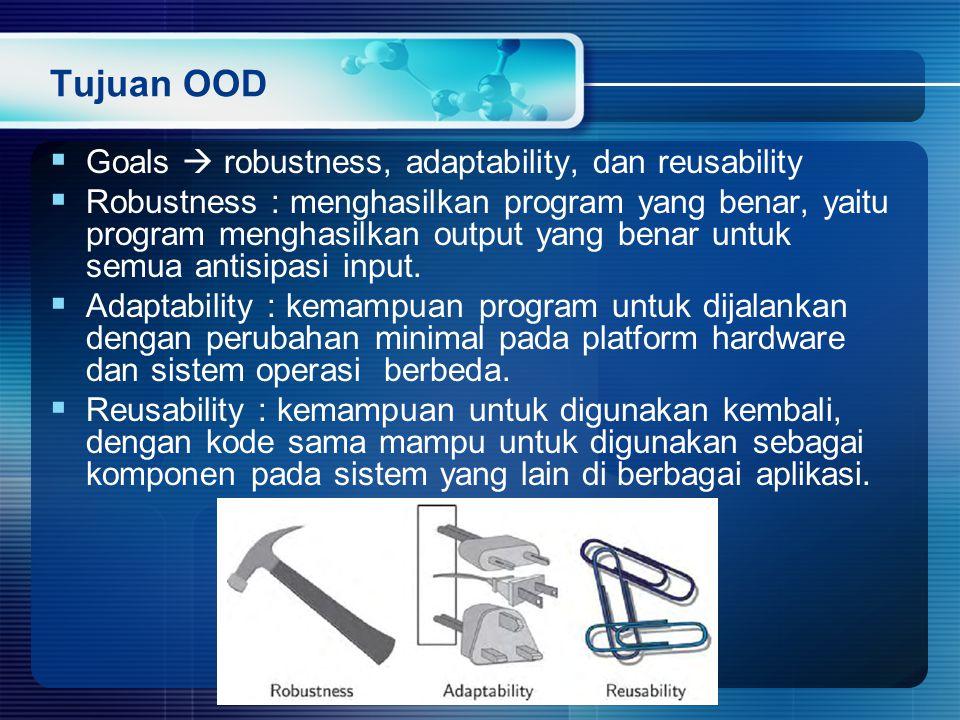 Tujuan OOD Goals  robustness, adaptability, dan reusability