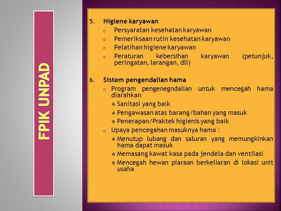 FPIK UNPAD Higiene karyawan Persyaratan kesehatan karyawan