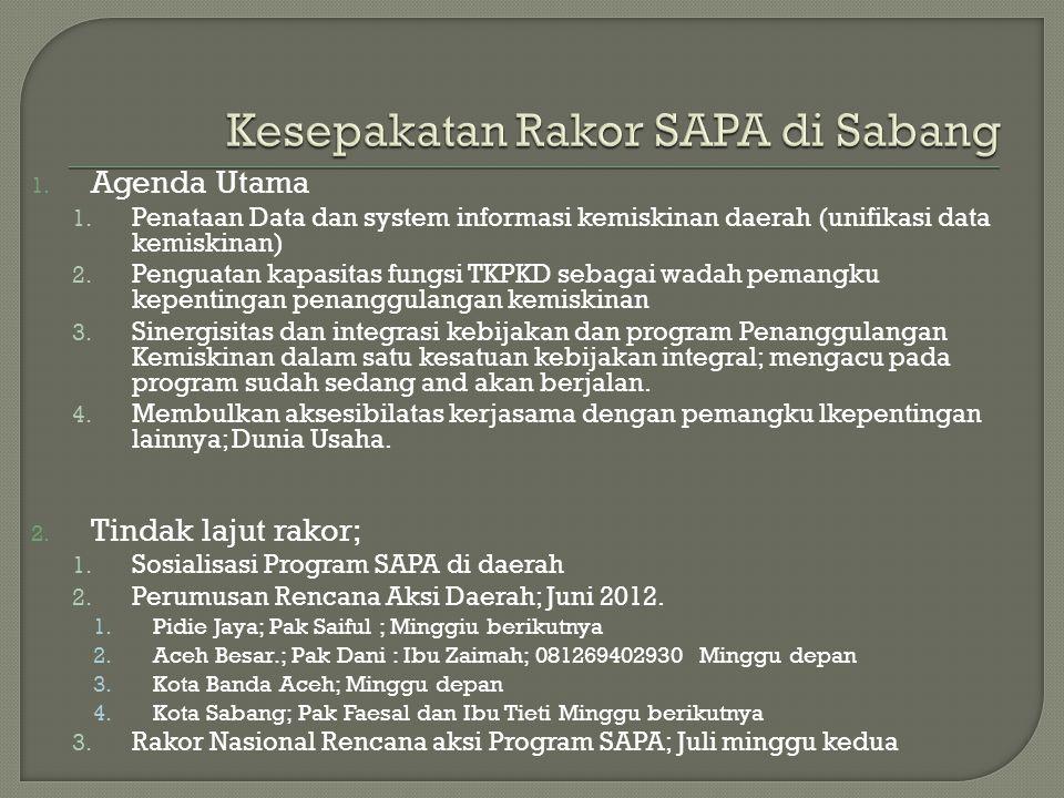 Kesepakatan Rakor SAPA di Sabang