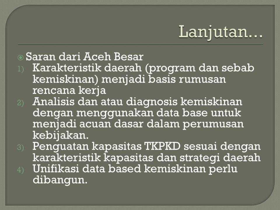 Lanjutan... Saran dari Aceh Besar