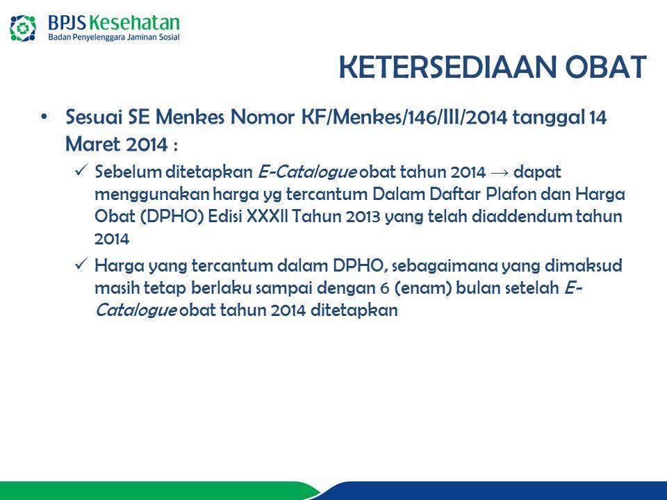 KETERSEDIAAN OBAT Sesuai SE Menkes Nomor KF/Menkes/146/III/2014 tanggal 14 Maret 2014 :