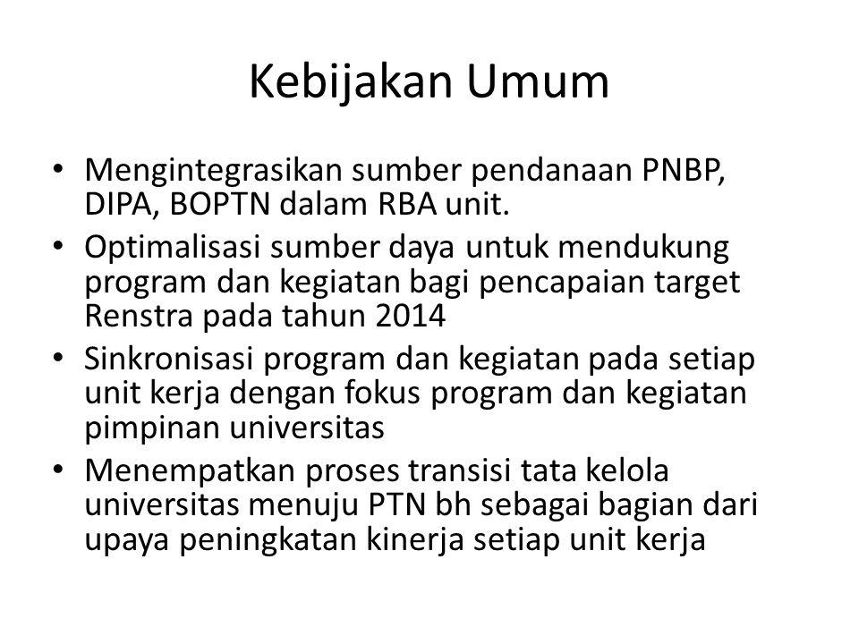 Kebijakan Umum Mengintegrasikan sumber pendanaan PNBP, DIPA, BOPTN dalam RBA unit.