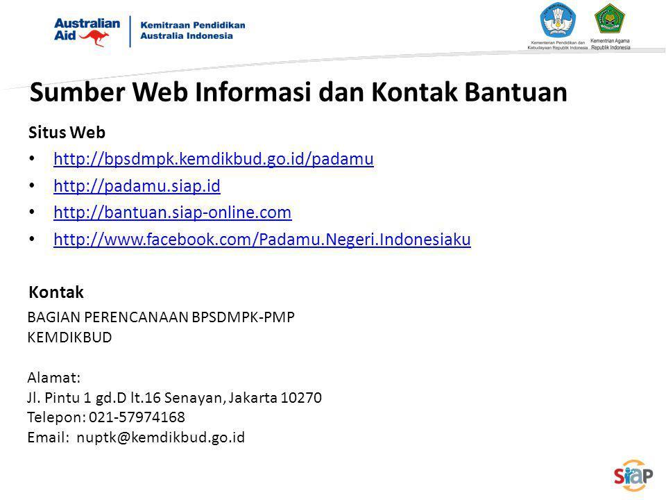 Sumber Web Informasi dan Kontak Bantuan