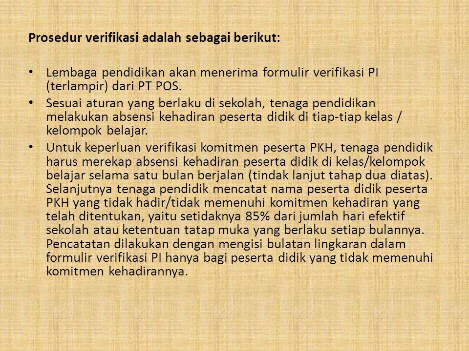 Prosedur verifikasi adalah sebagai berikut: