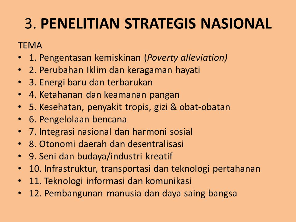 3. PENELITIAN STRATEGIS NASIONAL
