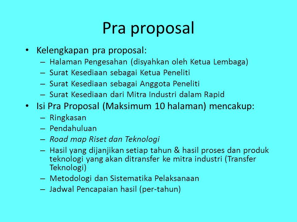 Pra proposal Kelengkapan pra proposal: