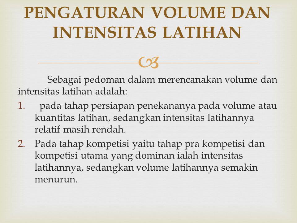 PENGATURAN VOLUME DAN INTENSITAS LATIHAN
