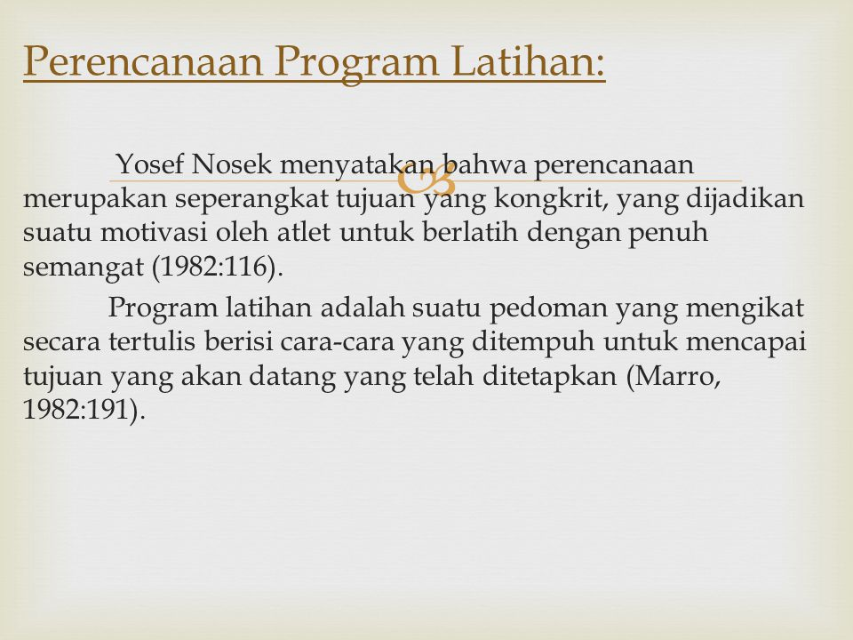 Perencanaan Program Latihan: