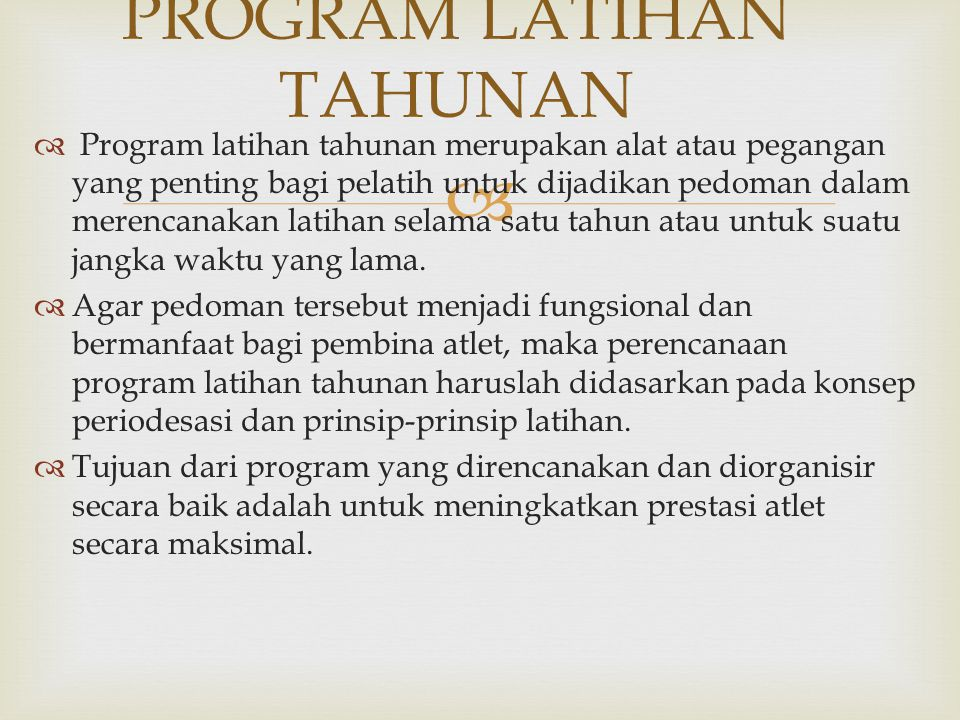 PROGRAM LATIHAN TAHUNAN