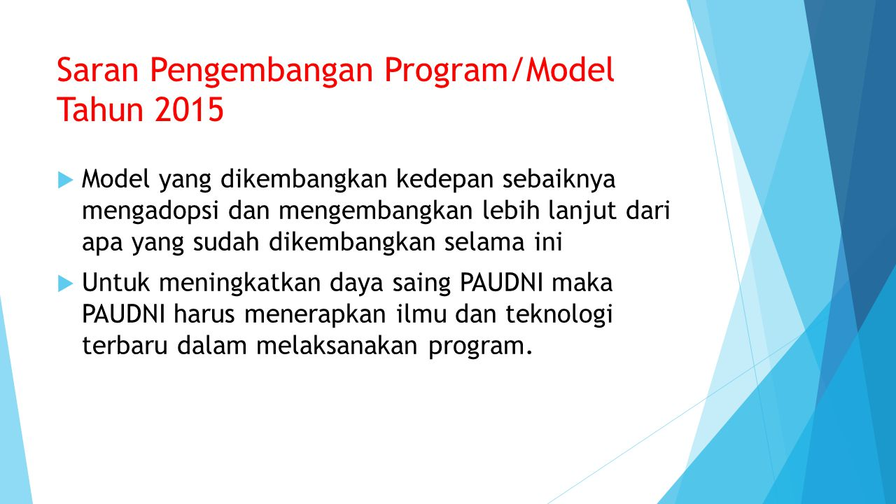 Saran Pengembangan Program/Model Tahun 2015