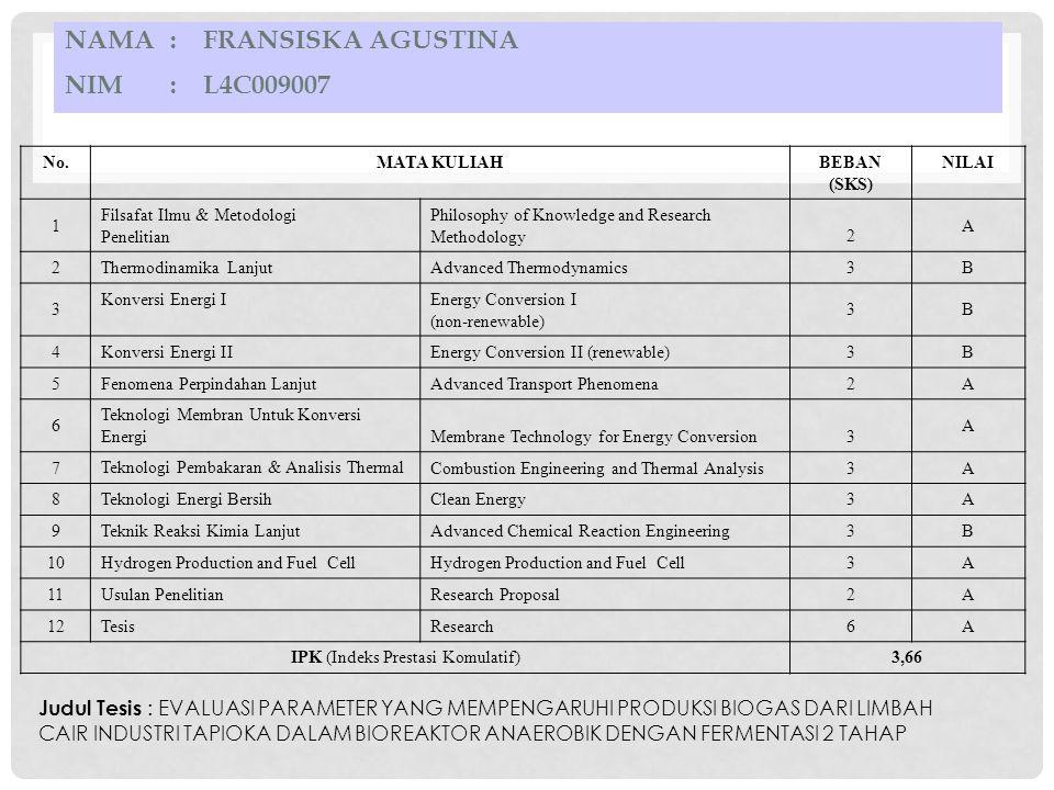 Nama : Fransiska Agustina NIM : L4C009007