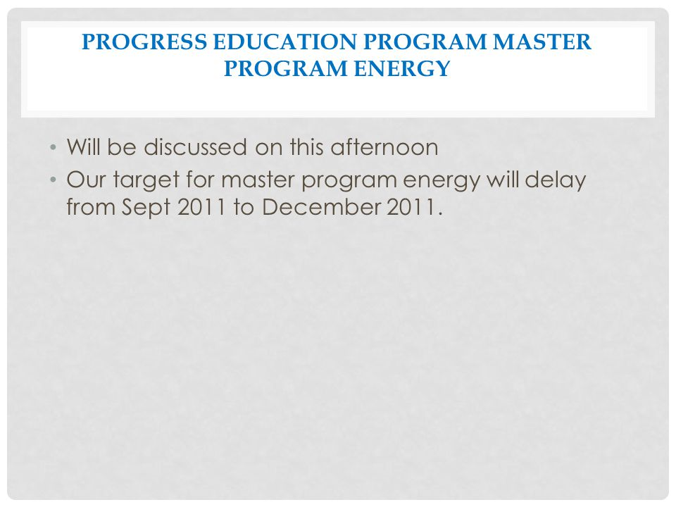Progress Education Program Master Program Energy