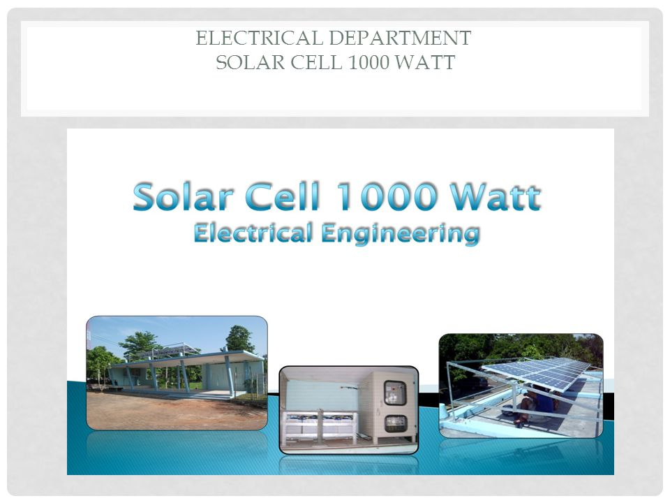 Electrical Department Solar Cell 1000 watt
