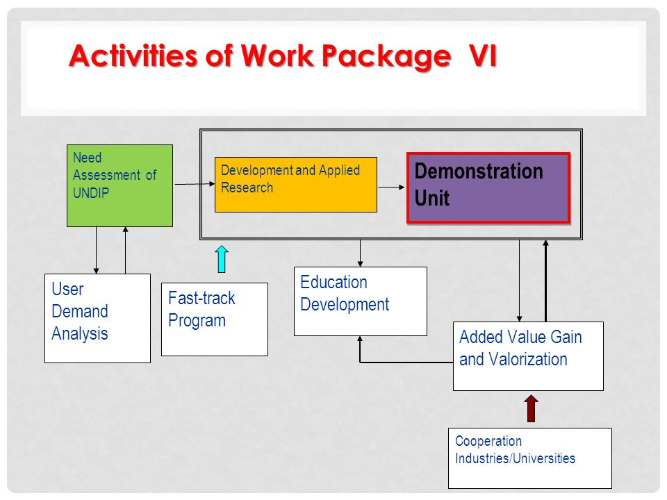 Activities of Work Package VI