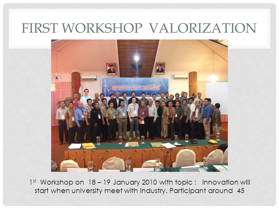 First Workshop VALORIZATION
