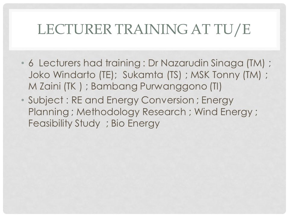 LECTURER TRAINING AT TU/e
