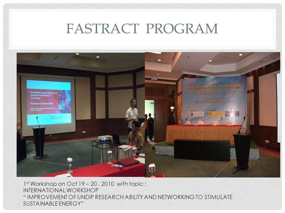 FASTRACT PROGRam 1st Workshop on Oct 19 – 20 , 2010 with topic :