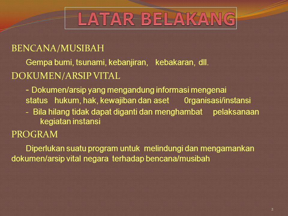LATAR BELAKANG BENCANA/MUSIBAH