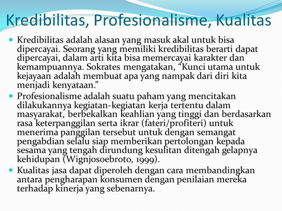 Kredibilitas, Profesionalisme, Kualitas