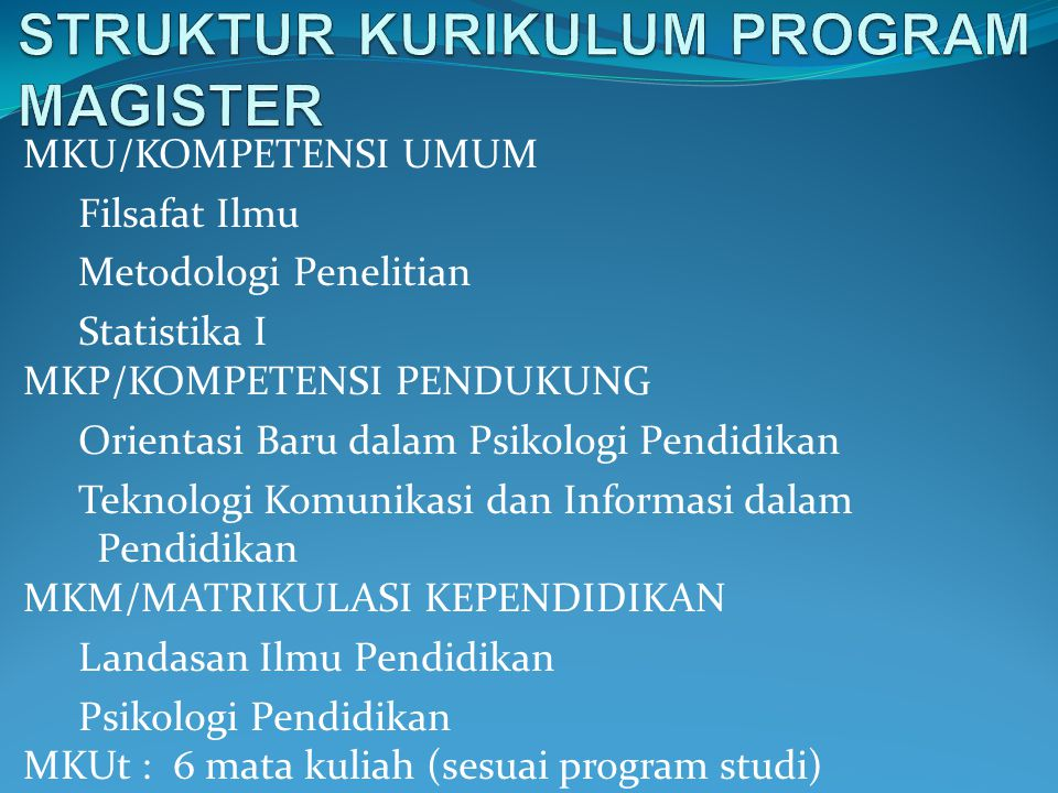 STRUKTUR KURIKULUM PROGRAM MAGISTER