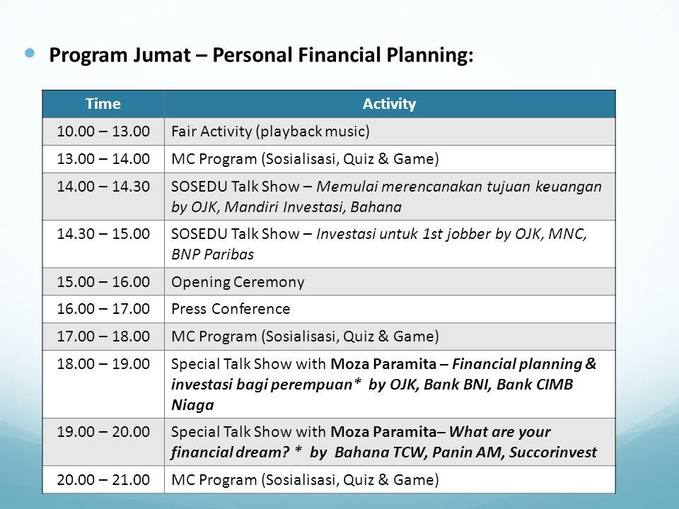 Program Jumat – Personal Financial Planning: