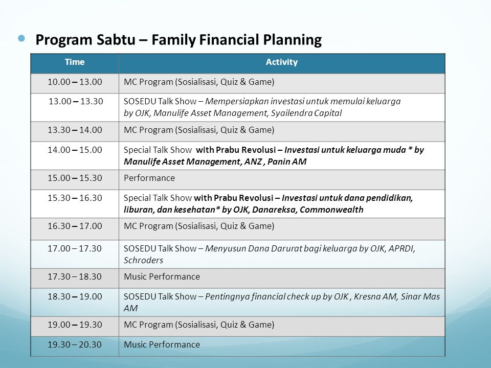 Program Sabtu – Family Financial Planning