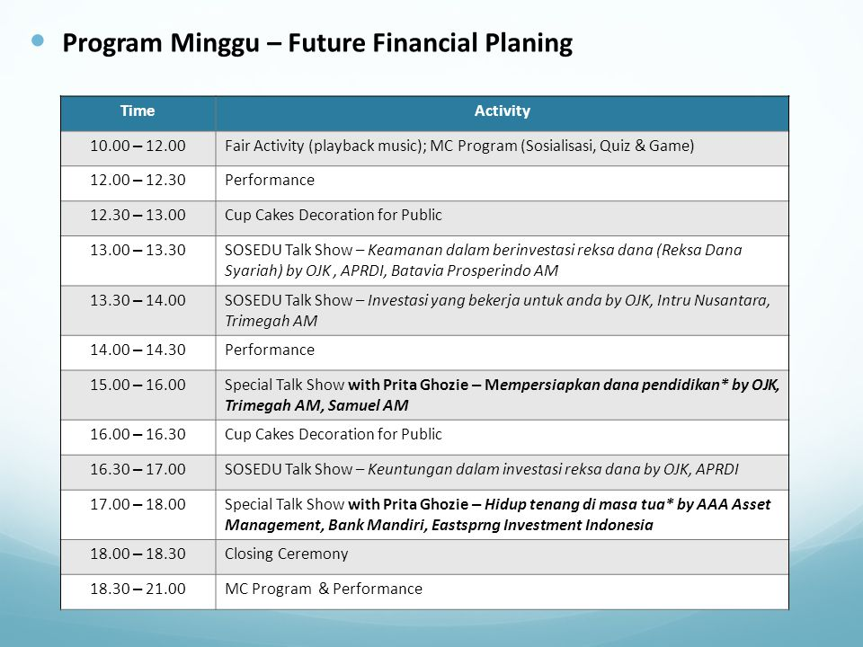 Program Minggu – Future Financial Planing