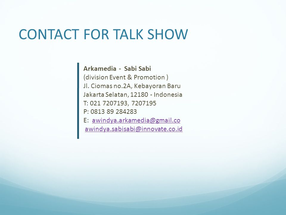 CONTACT FOR TALK SHOW Arkamedia - Sabi Sabi