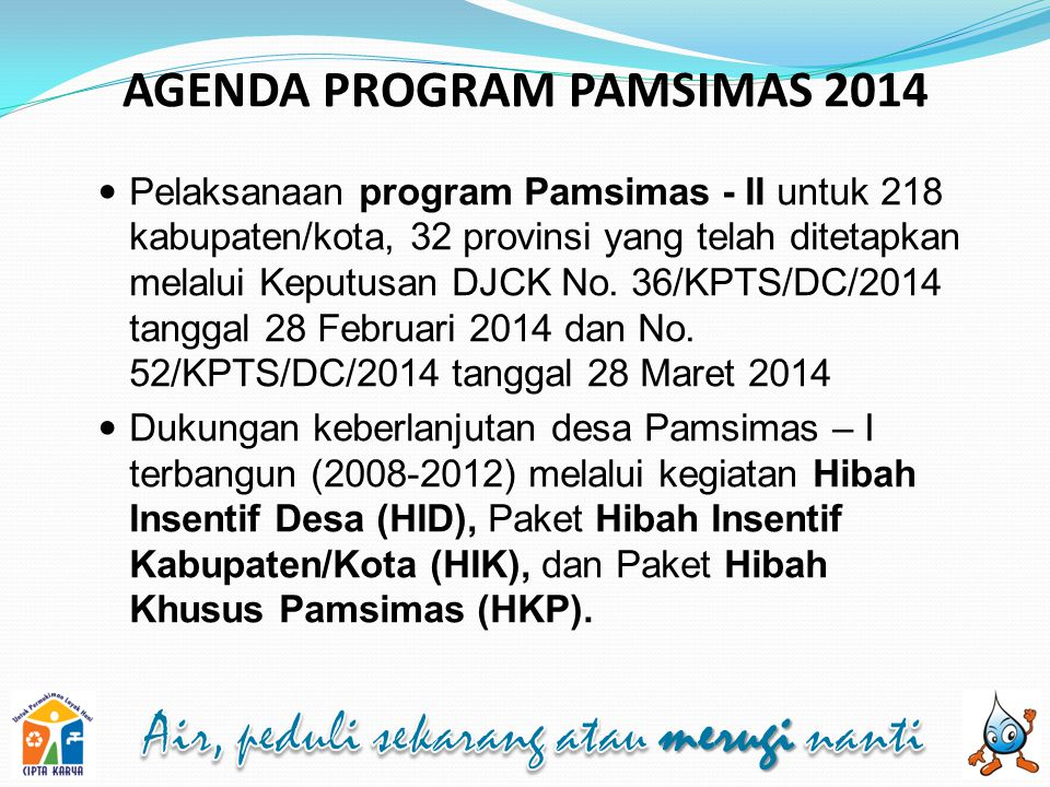 AGENDA PROGRAM PAMSIMAS 2014