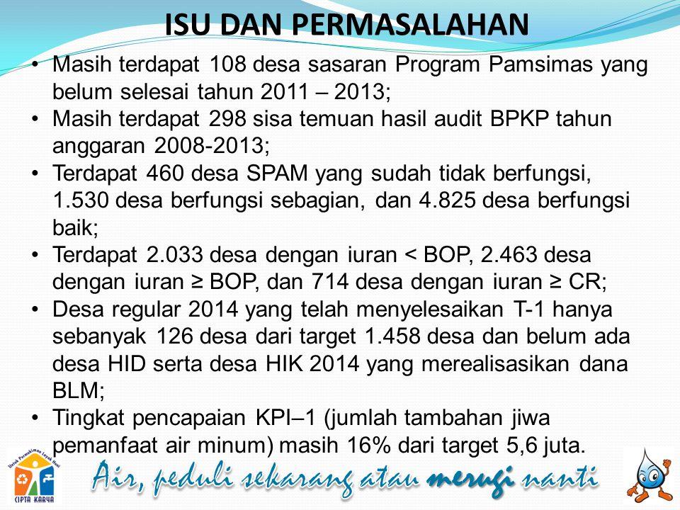ISU DAN PERMASALAHAN Masih terdapat 108 desa sasaran Program Pamsimas yang belum selesai tahun 2011 – 2013;