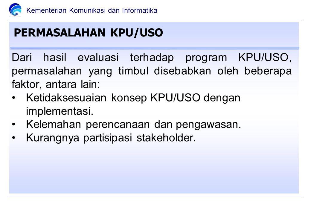 PERMASALAHAN KPU/USO Dari hasil evaluasi terhadap program KPU/USO, permasalahan yang timbul disebabkan oleh beberapa faktor, antara lain: